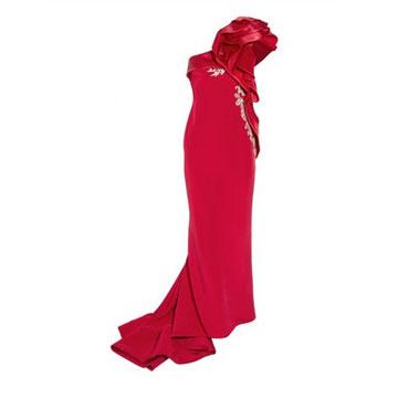 Marchesa 立领单肩丝绸礼服