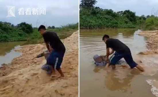 男子将母亲扔河里 因不满母亲拒绝给他买摩托车