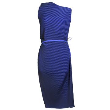 三宅一生宝蓝色立体褶皱连衣裙