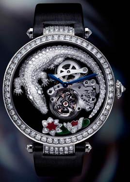 卡地亚 (Cartier) 鳄鱼纹浮动式陀飞轮腕表