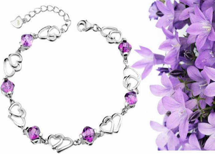 925纯银手链浪漫爱心老凤祥紫水晶手链