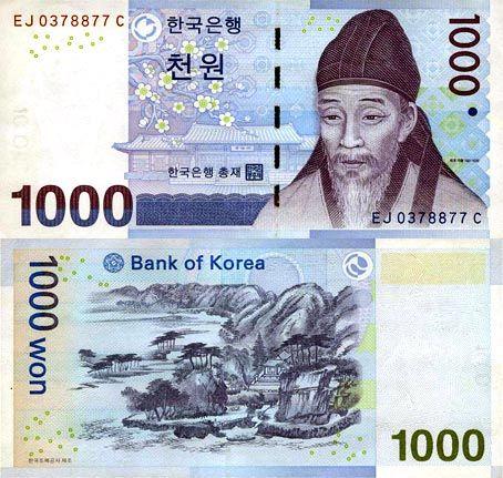 1000韩元面值图片