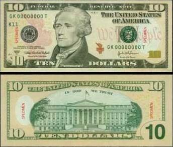 10美元面值图片