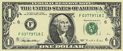 1美元纸币正面图案介绍