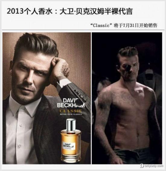 明星推个人香水有心机 小贝半裸广告为抢镜