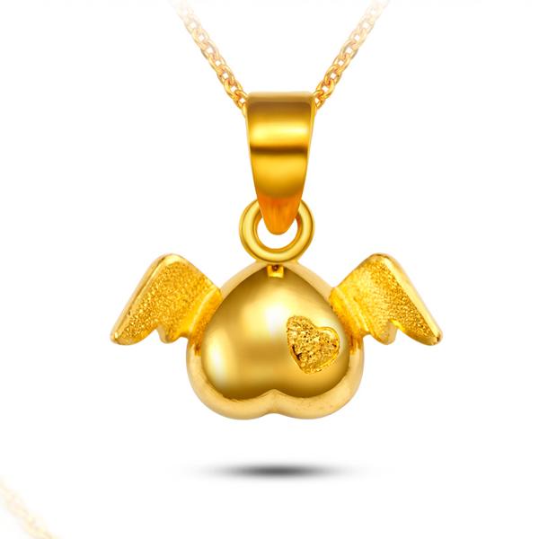 曼卡龙珠宝千足金小天使心形吊坠图片_珠宝图片