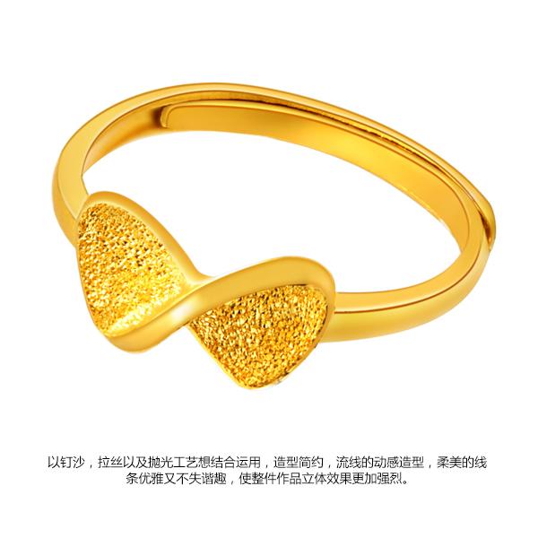 越王珠宝3D硬金蝴蝶结活口足金戒指图片_珠宝图片