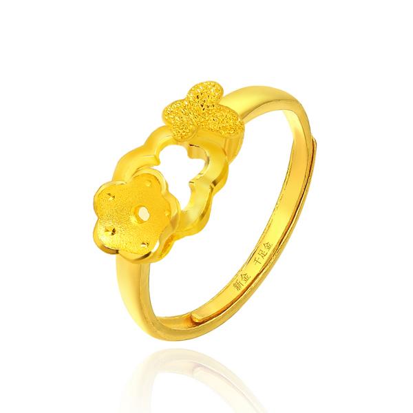 新金珠宝Au999黄金浪漫蝴蝶戒指图片_珠宝图片