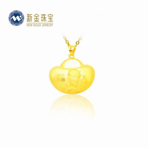新金珠宝Au999黄金婴儿锁吊坠图片_珠宝图片