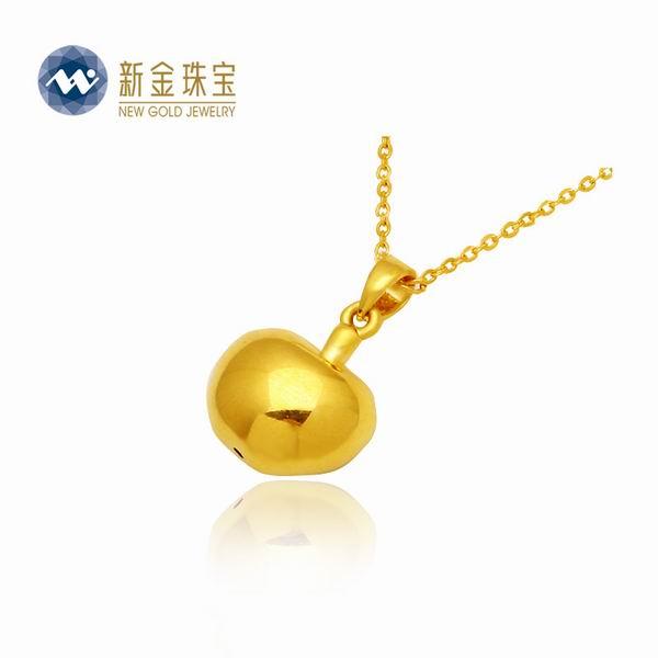 新金珠宝3D硬千足金苹果吊坠图片_珠宝图片