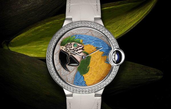 卡地亚鹦鹉花卉细工镶嵌腕表制作揭秘