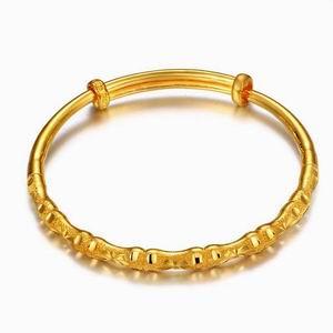 金叶珠宝相连黄金手镯图片_珠宝图片