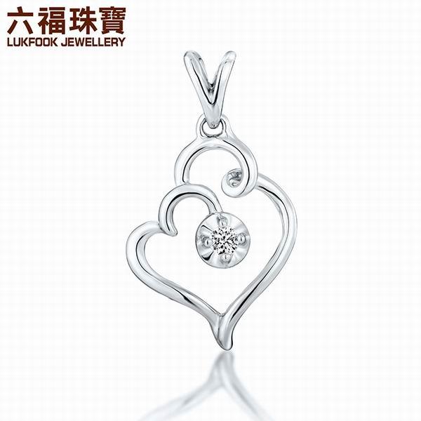 六福珠宝18K金爱意钻石吊坠图片_珠宝图片