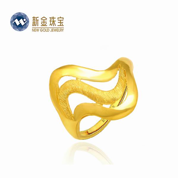 新金珠宝Au999黄金波浪戒指图片_珠宝图片