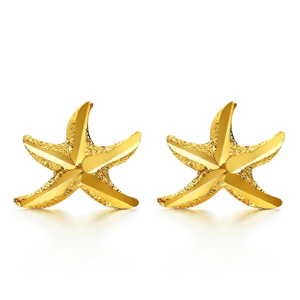 六福珠宝足金海星黄金耳钉图片_珠宝图片