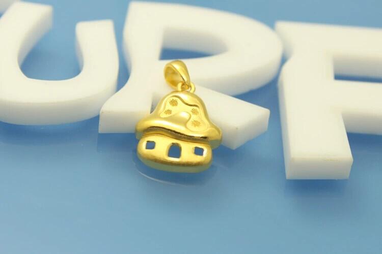 明牌黄金千足金蓝精灵系列蘑菇屋吊坠图片_珠宝图片