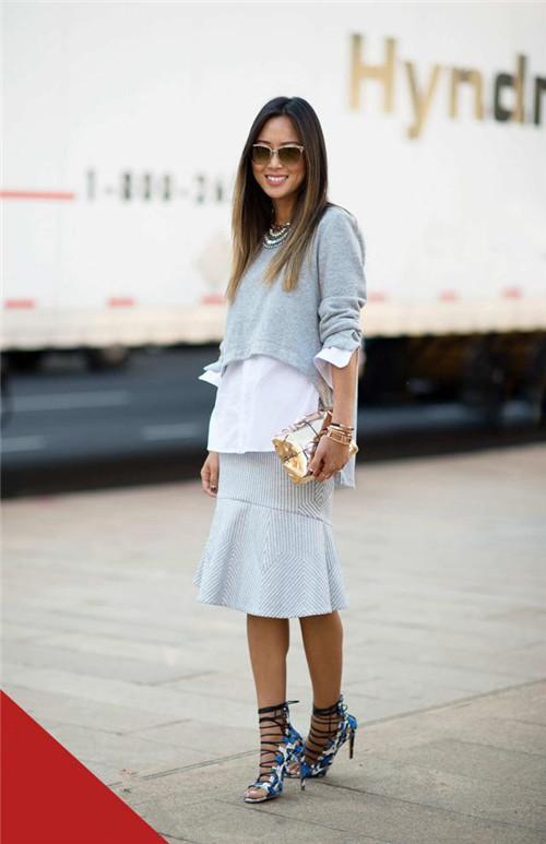 看博主Aimee Song穿衣搭配示范 上厚下薄舒适自然