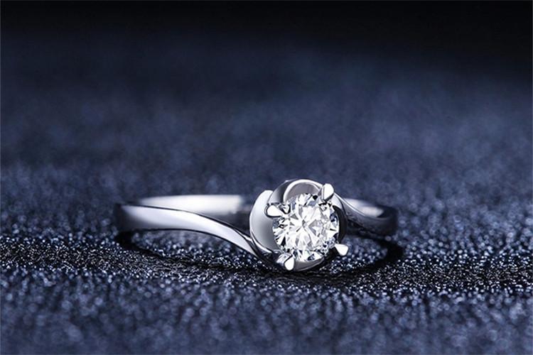 爱迪尔珠宝白18K金30分定制钻石戒指_珠宝图片