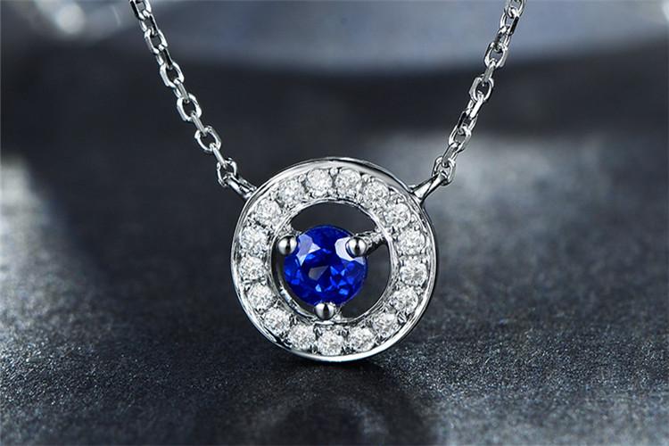 米莱珠宝白18K金0.28克拉蓝宝石钻石项链_珠宝图片