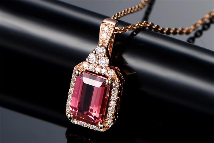 米莱珠宝白18K金1.01克拉碧玺钻石项链_珠宝图片