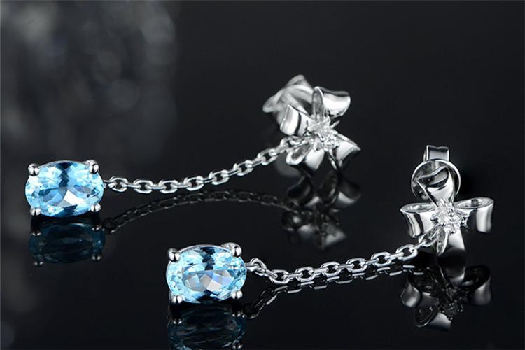 米莱珠宝白18K金1.65克拉海蓝宝钻石耳环_珠宝图片