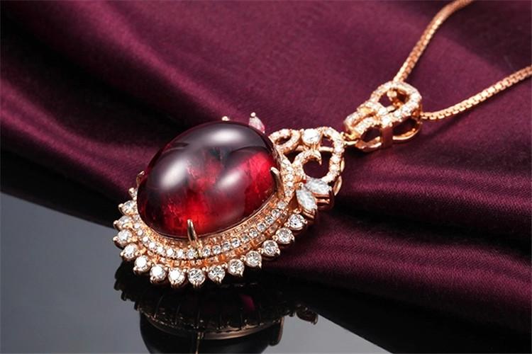 米莱珠宝白18K金1.06克拉红宝石钻石项链_珠宝图片