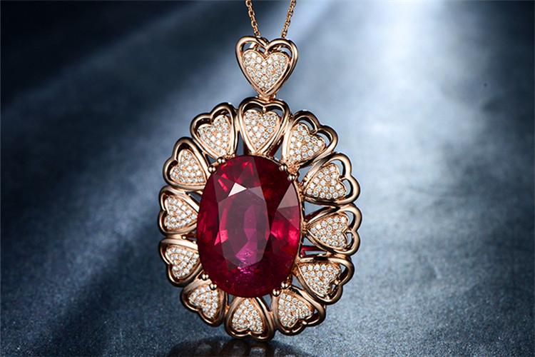 米莱珠宝白18K金天然红碧玺钻石吊坠_珠宝图片