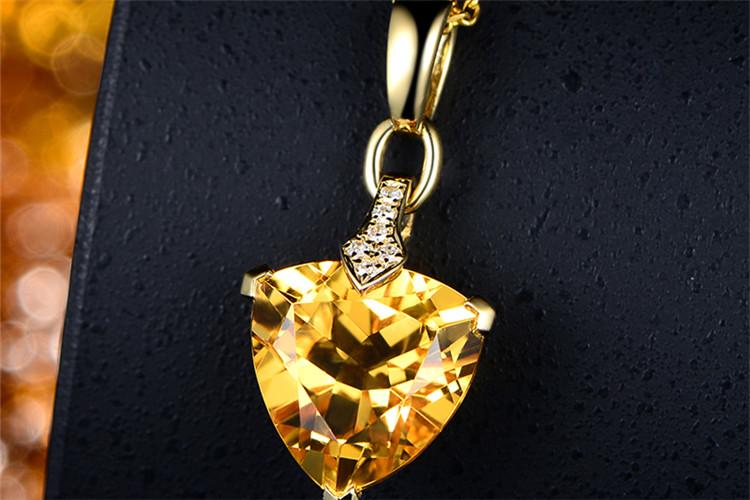 米莱珠宝白18K金4.5克拉黄水晶钻石吊坠_珠宝图片
