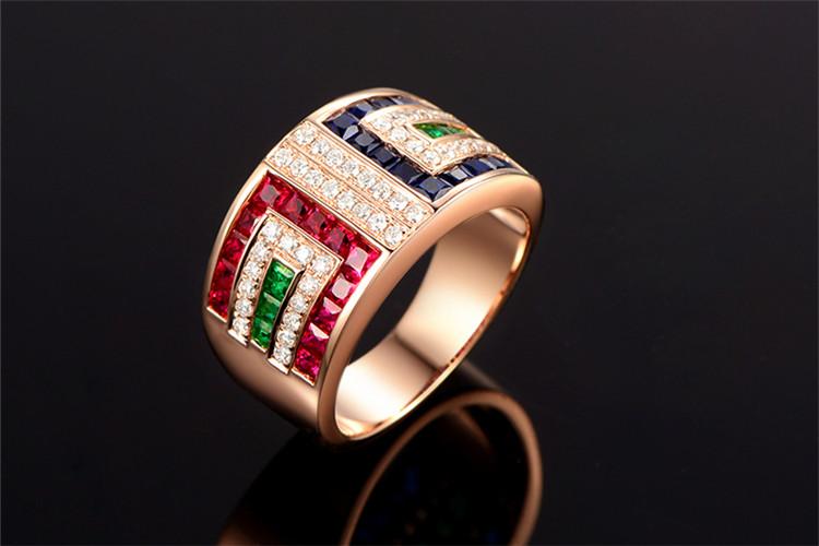 米莱珠宝白18K金红蓝宝石钻石戒指_珠宝图片