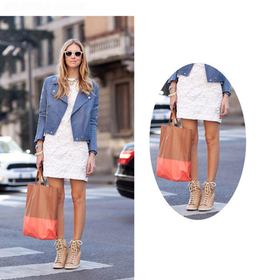 秋冬穿衣搭配颜色太单调? 蓝色皮衣+连衣裙简洁有范