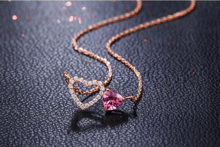 千禧之星珠宝18K玫瑰金红碧玺心形项链_珠宝图片