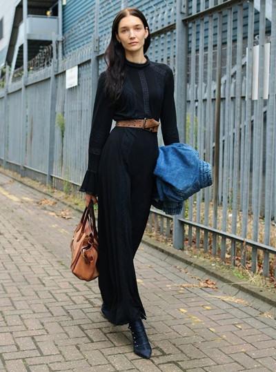 伦敦时装周街拍示范 连衣裙最适合秋天的单品