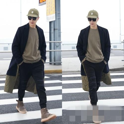 孙坚冬日机场街拍曝光 飞行员外套+帽衫时尚温暖两不误