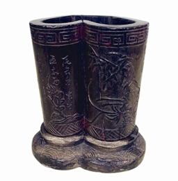 清中期书卷形乌木笔筒收藏鉴赏