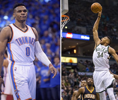 扬尼斯-安特托昆博与雷霆的拉塞尔-威斯布鲁克分获NBA东西部最佳球员