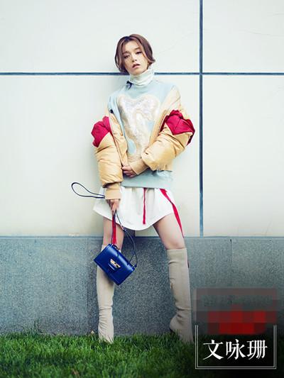 文咏珊冬季街拍造型示范 穿对小高领你就时髦一半