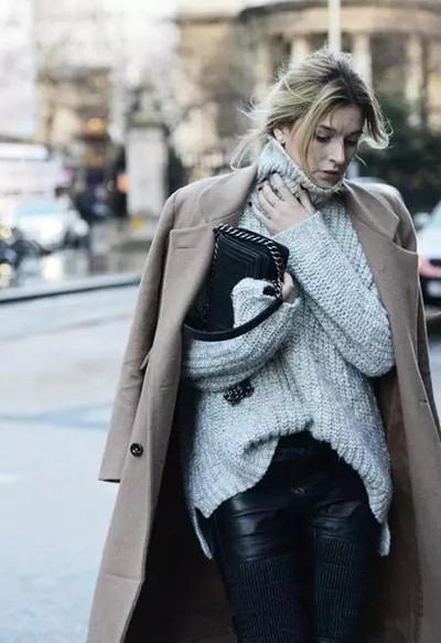 秋冬穿衣搭配技巧示范 高领毛衣保暖又显瘦图片