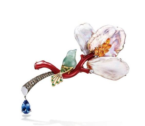 """台湾珠宝设计师林晓同推出""""青鸟""""系列红珊瑚珠宝"""