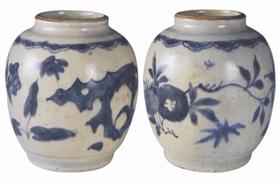陶瓷收藏与鉴赏:明崇祯青花花卉洞石罐