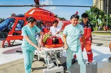 私人直升机救援车祸伤员 吉安微信红包群开启空中救援模式