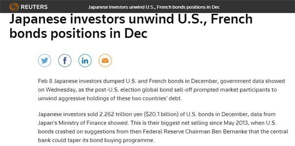 全球央行美债抛售潮 日本步中国后尘