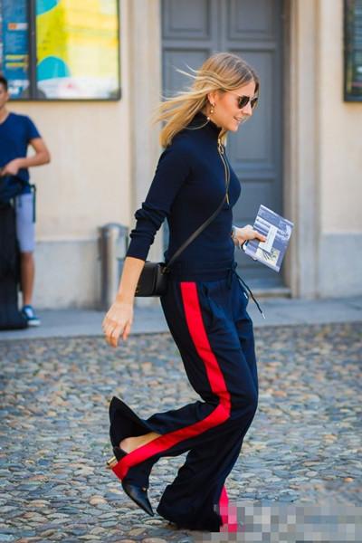 初春服装流行趋势示范 开叉运动裤时髦又百搭