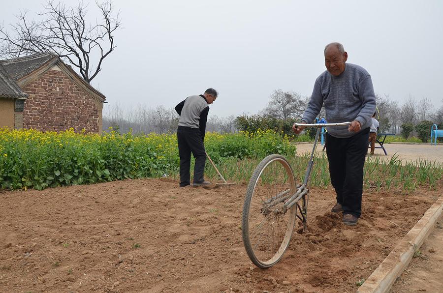 厉害!大爷改装自行车锄地