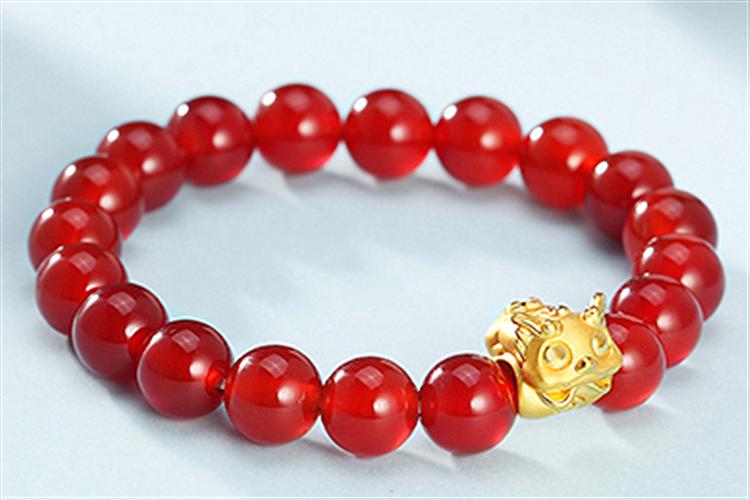 吉盟首饰黄金貔貅3D硬金转运珠手链_珠宝图片