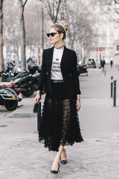 欧美穿衣搭配造型示范 西装+透视裙让你女人味十足