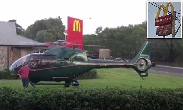 澳大利亚男子开直升机买快餐 店员以为出紧急事件