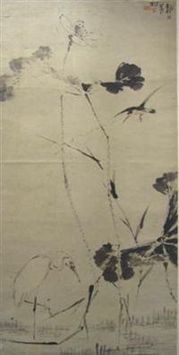 书画收藏与鉴赏:指画《荷塘水鸟图》