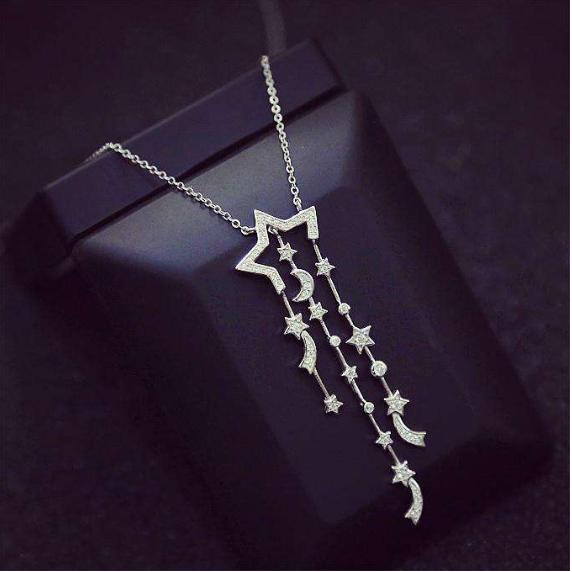 纯银星星月亮项链