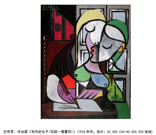 毕加索画作将亮相伦敦佳士得 4000万英镑估价领衔全场