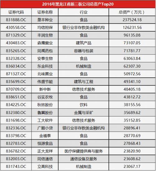 2016黑龙江省上市公司总资产Top20